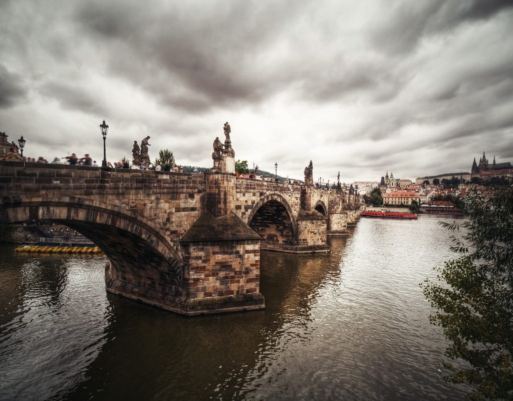 View of Charles Bridge and Hradcany in Prague, Europe.
