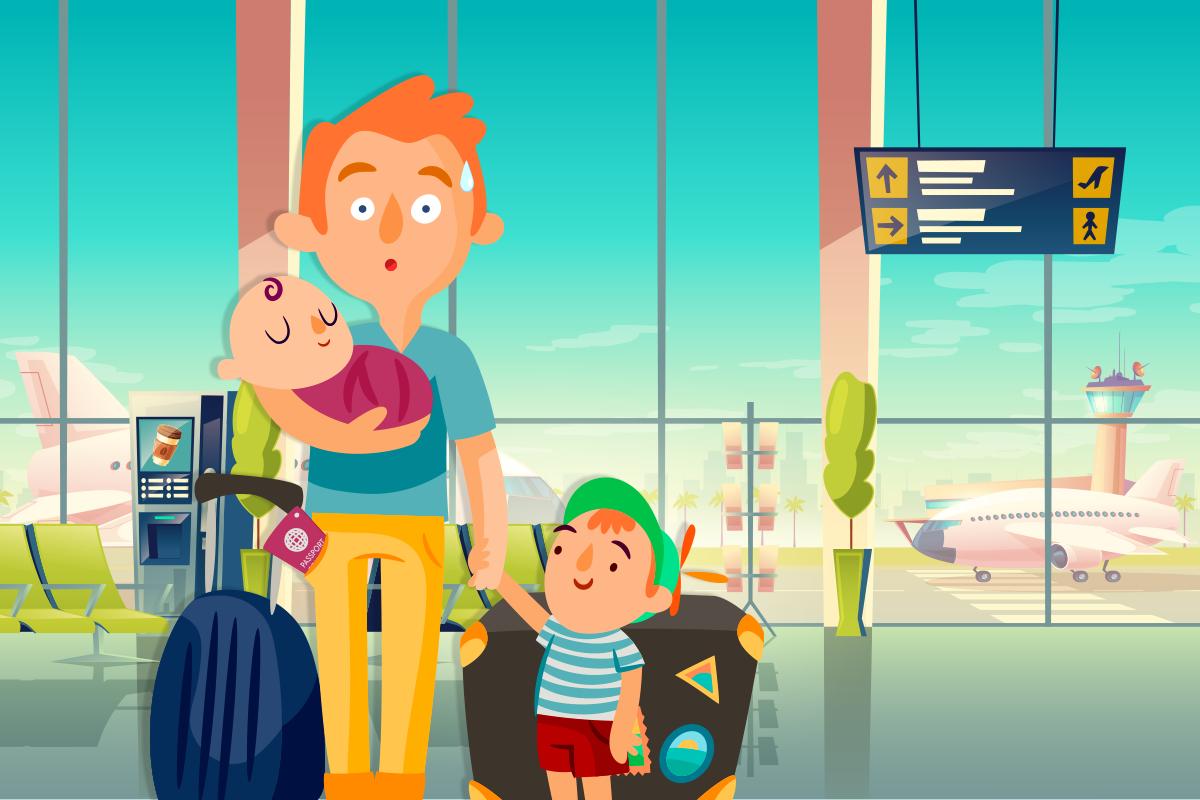 Папа с детьми в путешествии